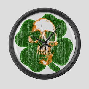 irish skull Large Wall Clock