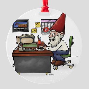 Tax Gnome.Cut Round Ornament