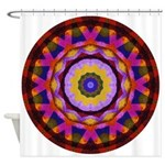 Quilted Wagon Wheels Mandala Shower Curtain