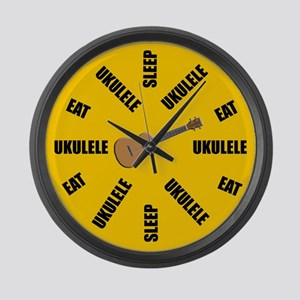 Eat Sleep Ukulele Large Wall Clock