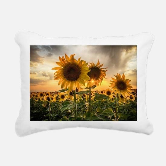 Sunflower Starburst Rectangular Canvas Pillow