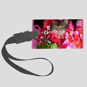 valentine-cat2 Large Luggage Tag