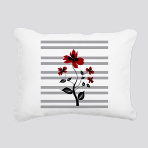 Modern Black and floral on gray stripes Rectangula