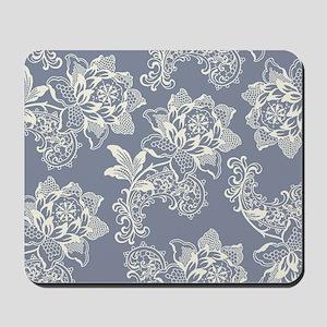 Gorgeous Blue and Cream Vintage Floral Mousepad