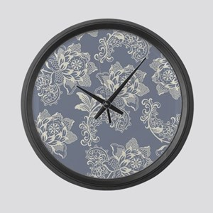 Gorgeous Blue and Cream Vintage F Large Wall Clock