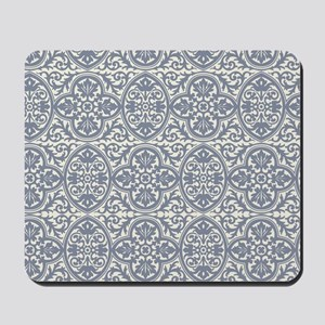 Gorgeous Cream and Gray Damask Mousepad