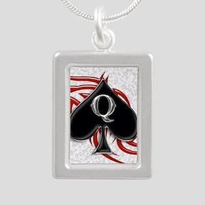 Queen of spade tribal Silver Portrait Necklace