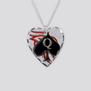 Queen of spade tribal Necklace Heart Charm