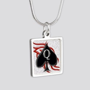 Queen of spade tribal Silver Square Necklace