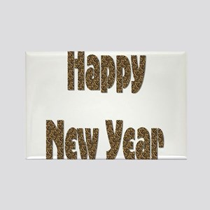 Happy New Year beige black animal print Magnets
