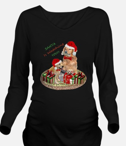 Santa Watching Golden Retrievers Long Sleeve Mater