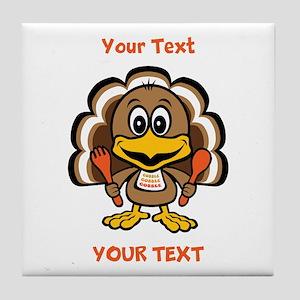 Personalize Little Gobbler Tile Coaster