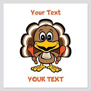 Personalize Little Gobbler 5.25 x 5.25 Flat Cards