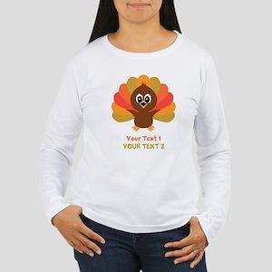 Personalize Little Turkey Women's Long Sleeve T-Sh