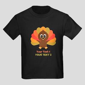 Personalize Little Turkey Kids Dark T-Shirt