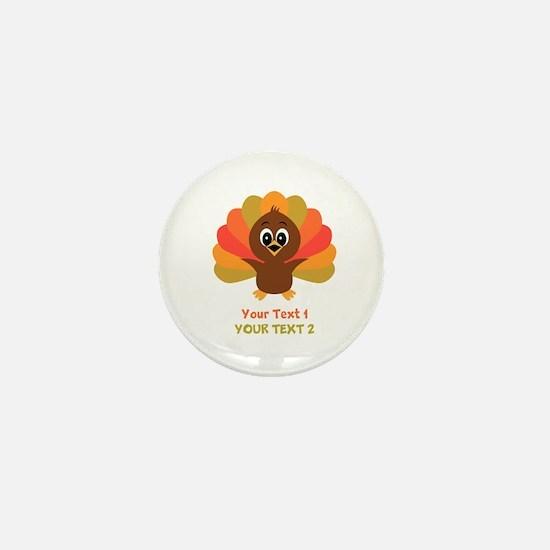 Personalize Little Turkey Mini Button