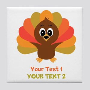 Personalize Little Turkey Tile Coaster