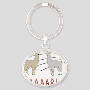 llama1-white Oval Keychain