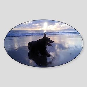 Blue Sunrise Sticker (Oval)