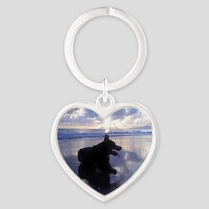 Blue Sunrise Heart Keychain