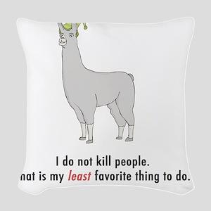 llama2-white Woven Throw Pillow