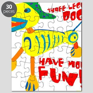 Three Legged Dogs Have More Fun Dark BKG Puzzle