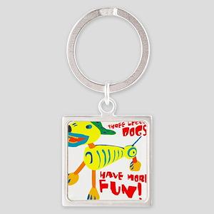 Three Legged Dogs Have More Fun Da Square Keychain