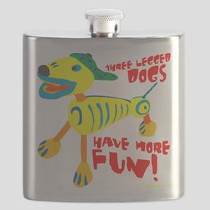 Three Legged Dogs Have More Fun Dark BKG Flask