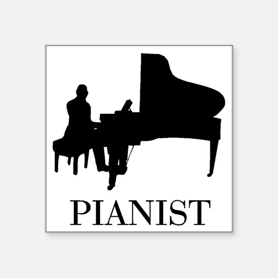 "Pianist Square Sticker 3"" x 3"""