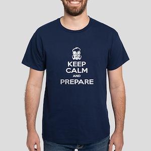 Keep Calm Prepare Gas Mask Dark T-Shirt
