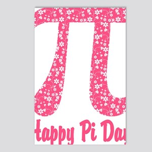 Pink Flowers Pi Day Postcards (Package of 8)