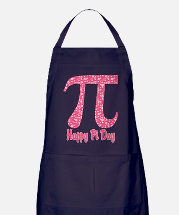 Pink Flowers Pi Day Apron (dark)