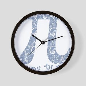 Chambray Swirls Pi Day Wall Clock