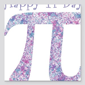 """Pi Day Girly Paint Splat Square Car Magnet 3"""" x 3"""""""