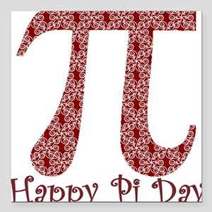 """Red Swirls Pi Day Square Car Magnet 3"""" x 3"""""""