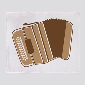 A brown Accordion musical Instrument Throw Blanket