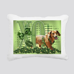 Doxie_Lucky_Charm5x7 Rectangular Canvas Pillow