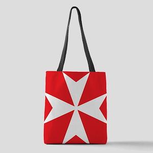 White Maltese Cross Polyester Tote Bag