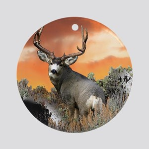 Trophy buck sunset Round Ornament
