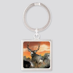 Trophy buck sunset Square Keychain