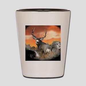Trophy buck sunset Shot Glass