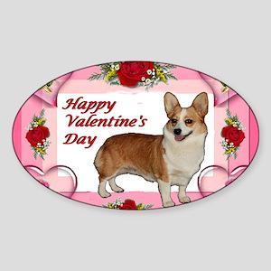Valentine Dott Standing Heart  Rose Sticker (Oval)