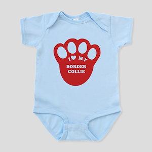 I love my border collie paw Infant Bodysuit