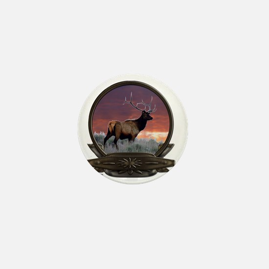 Elk at sunset Mini Button