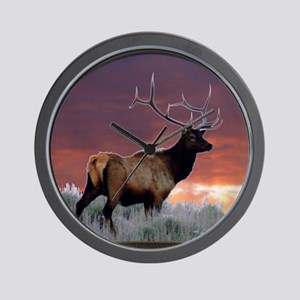 Elk at sunset Wall Clock