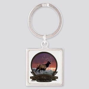 Elk at sunset Square Keychain
