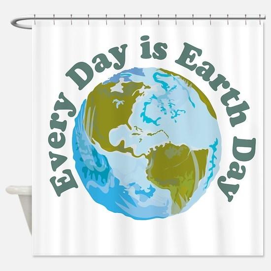 Earth_Button Shower Curtain