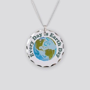 Earth_Button Necklace Circle Charm