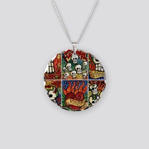 Day of the Dead Sugar Skulls Necklace Circle Charm
