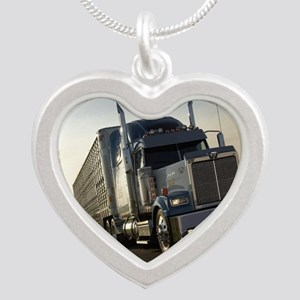2-BULLHAULER Silver Heart Necklace